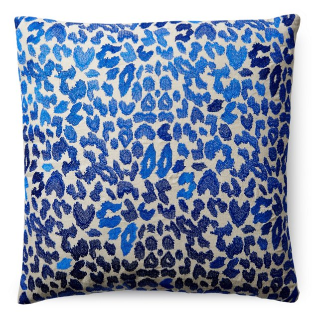 Leopard 22x22 Embroidered Pillow, Blue