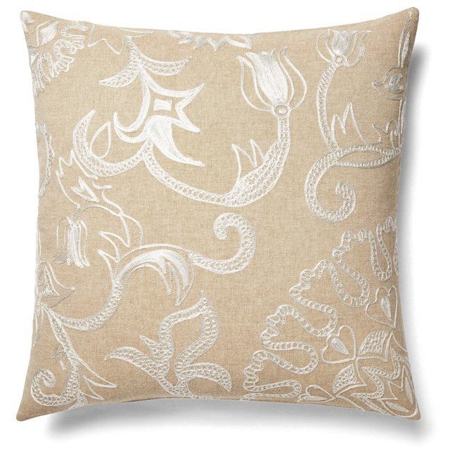 Lily 22x22 Cotton Pillow, Ivory