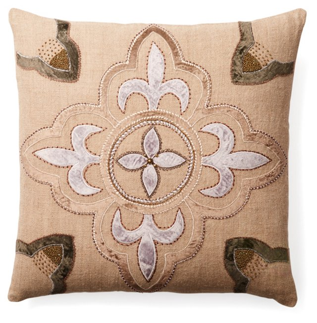 Regal 22x22 Embroidered Pillow, Natural