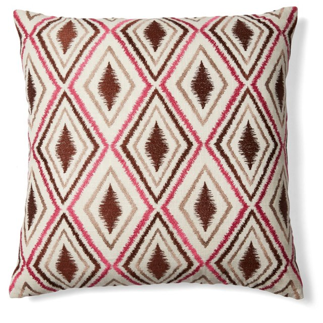 Ikat 20x20 Embroidered Pillow, Brown