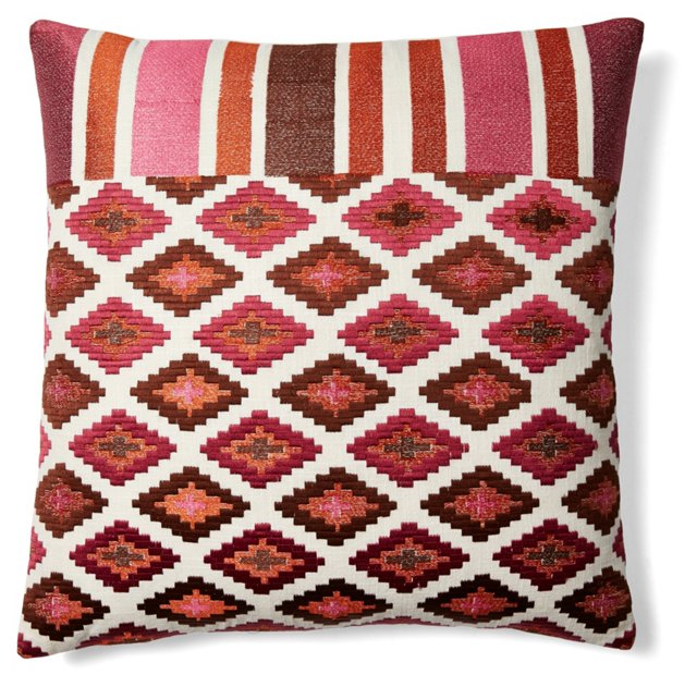 Medley 20x20 Embroidered Pillow, Brown