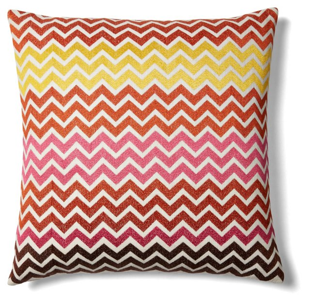 Zigzag 20x20 Embroidered Pillow, Red