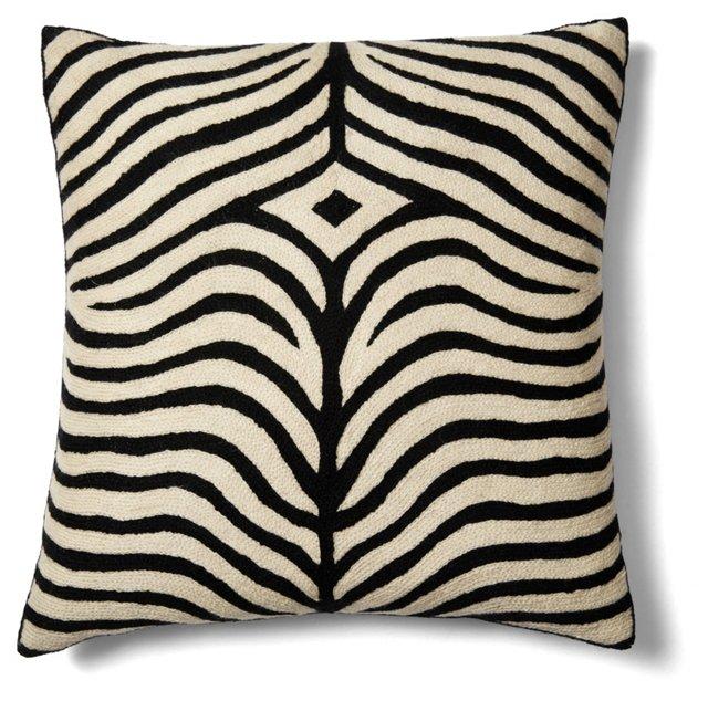 Zebra 18x18 Cotton Pillow, Black