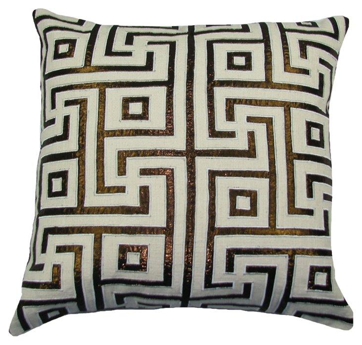 Lurex Key 20x20 Pillow, Ivory