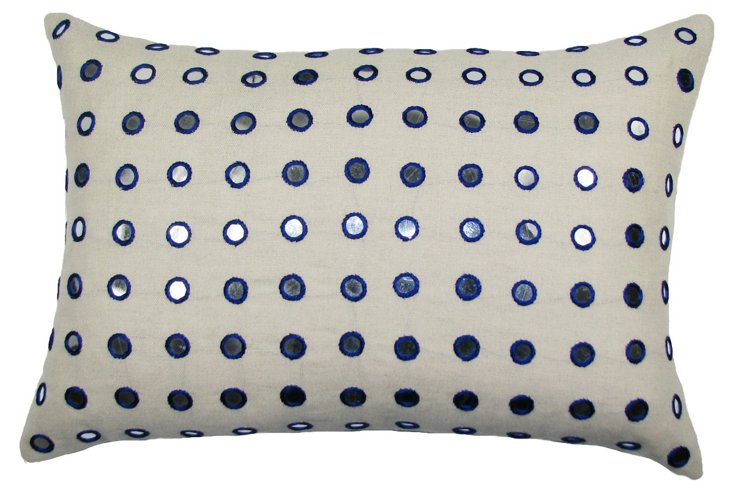 Mirrored 14x20 Linen-Blend Pillow, Blue
