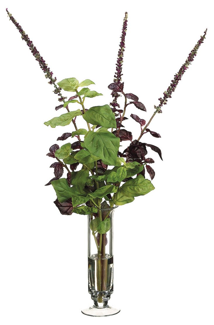 "23"" Faux Basil in Glass Vase"