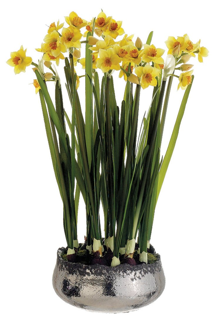 """19"""" Faux Narcissus in Pot, Yellow"""