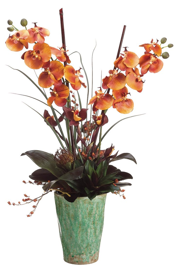 "40"" Phalaenopsis in Pot, Faux"