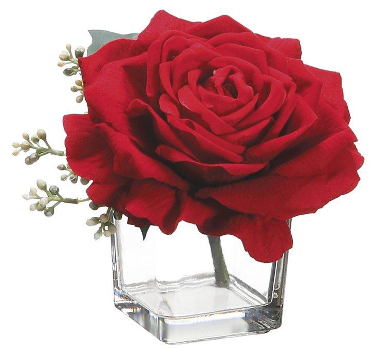"7"" Rose in Vase, Faux"