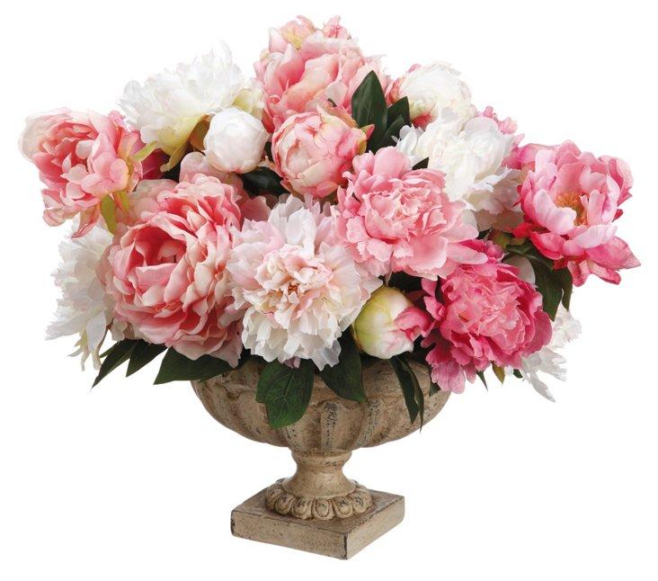 """19"""" Peonies in Vase, Faux"""