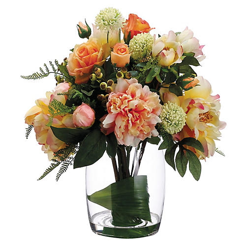 "19"" Rose and Peony Arrangement, Faux"