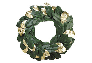 "30""  Green Magnolia Wreath, Faux"