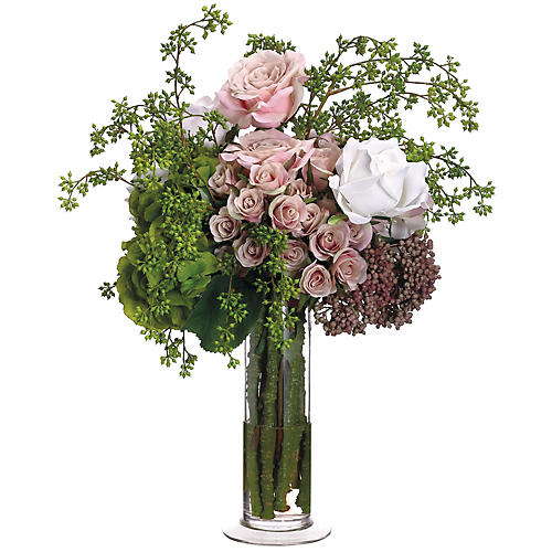 "21"" Hydrangea & Rose Bloom Arrangement, Faux"