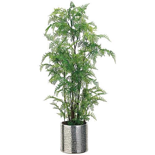 """32"""" Leatherleaf Fern Plant, Faux"""