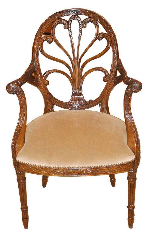 Adam Oval-Back Armchair, Mahogany/Camel