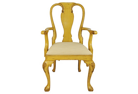 Queen Anne Armchair, Yellow/Ivory