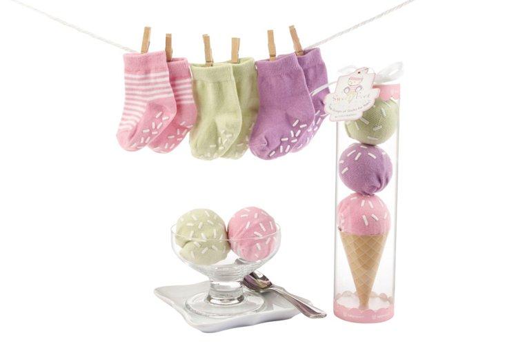 Sweet Feet Three Scoops of Socks, Pink