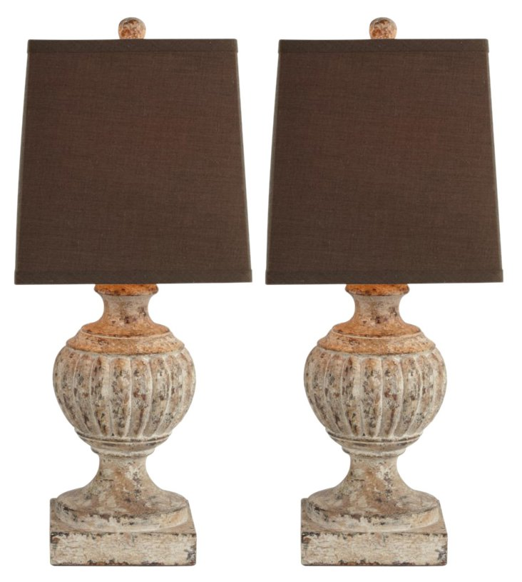 Norwich Table Lamp Set, Distressed Ivory