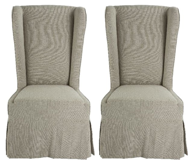 Dove Gray Pascal Dining Chairs, Pair