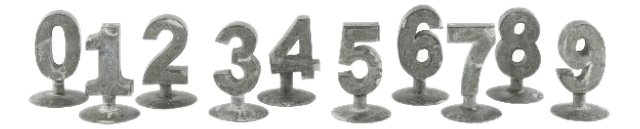 Zinc Numbers on Stands Set