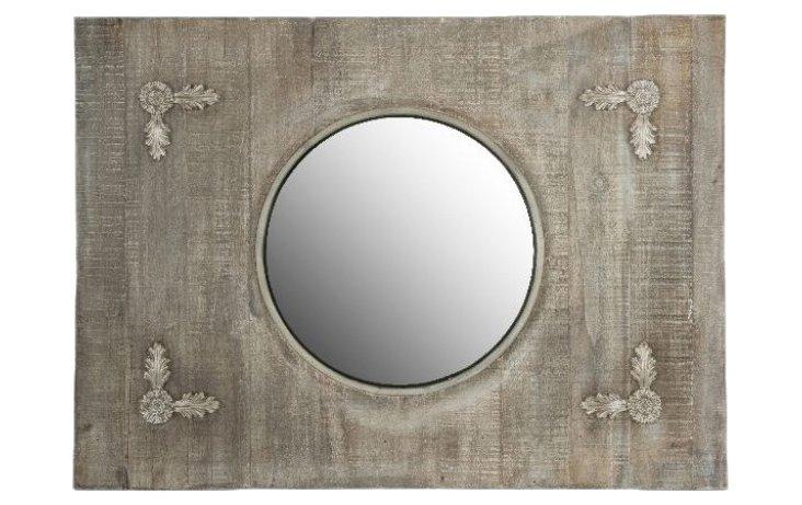 Crescent Wooden Mirror