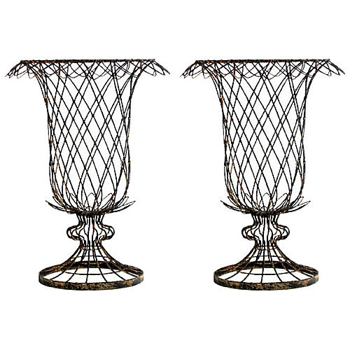 Small Iron Tulip Baskets, Pair