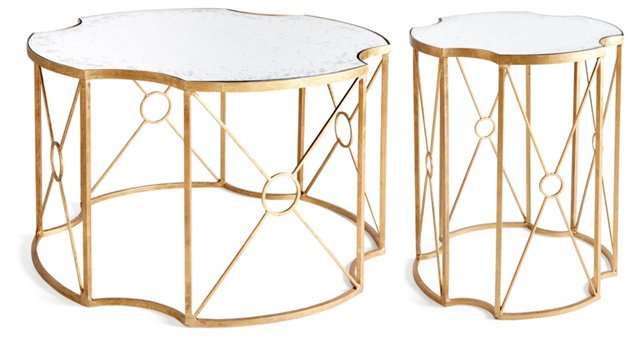 Gold Mayville Mirrored Tables, Set of 2