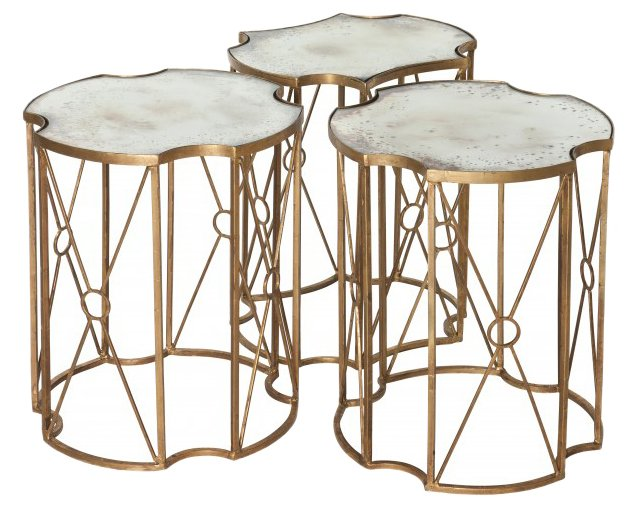 Gold Mayville Tables, Set of 3