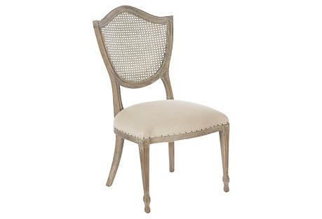 Shield Cane Back Side Chair, Burnt Oak