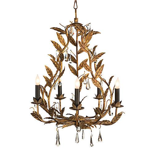 Garden 5-Light Chandelier, Antiqued Gold