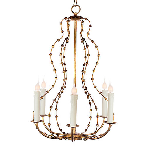 Falling Leaves 6-Light Chandelier, Gold