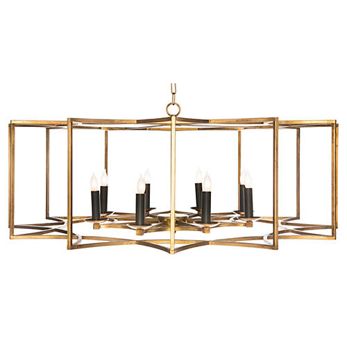 Geometric 8-Light Chandelier, Gold
