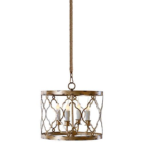 Adella 4-Light Pendant, Distressed Gold