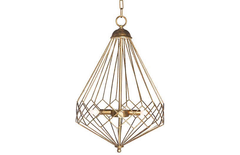 Geometric 4-Lt Droplet Chandelier, Gold
