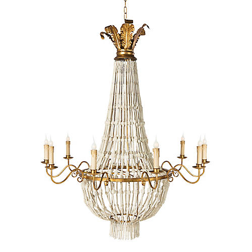 Bowers Chandelier, Antiqued White/Gold