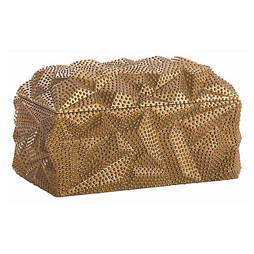 "12"" Baroque Decorative Box, Gold"