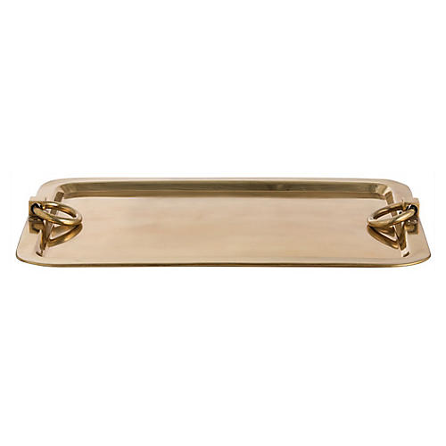 """24"""" Bordeaux Tray, Antiqued Brass"""