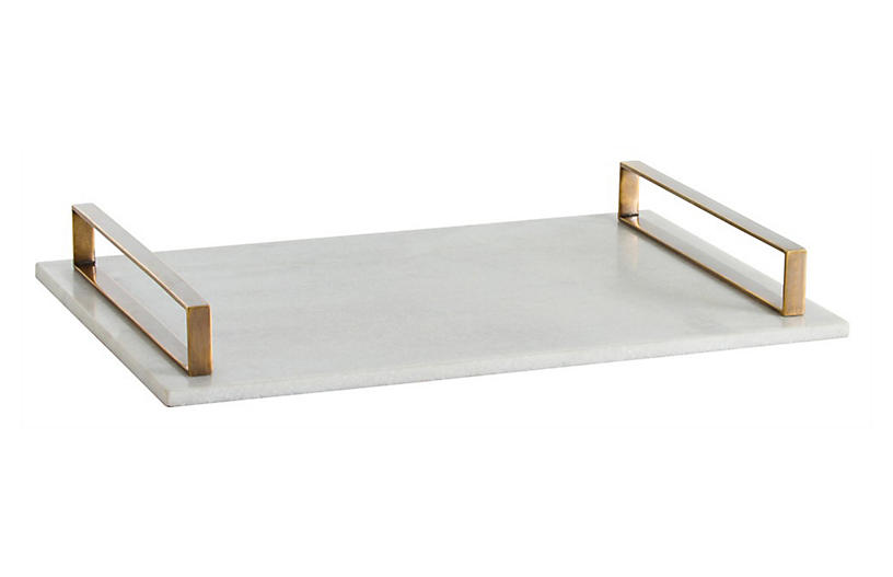 Exton Tray, White/Brass