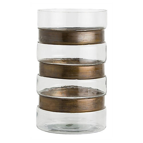 "17"" Garrison Cylindrical Hurricane, Clear/Brass"