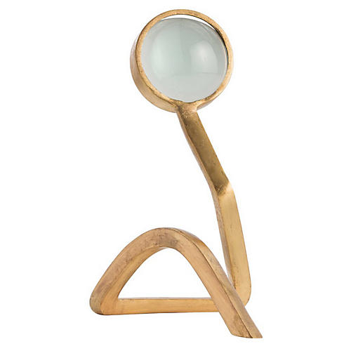 """12"""" Jensen Magnifying Glass, Gold/Clear"""