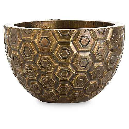 "12"" Kimo Decorative Bowl, Brass"