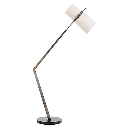 Juniper Marble Floor Lamp, Silver/Black