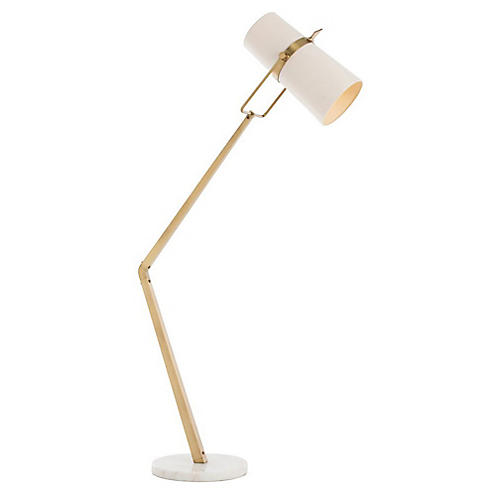 Juniper Marble Floor Lamp, Brass/White