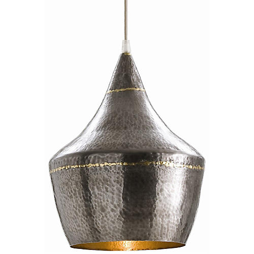 Mason Small Pendant, Dark Silver/Brass