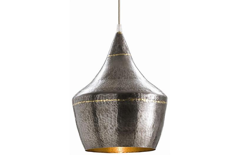Mason Small Pendant, Dark Silver/Brass