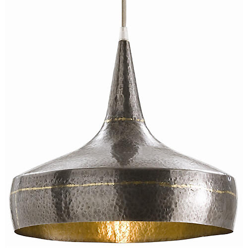 Mason Wide Pendant, Dark Silver/Brass