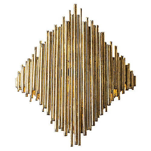 Prescott Wide Sconce, Gold/Mirrored
