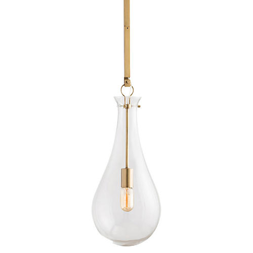 Sabine Pendant, Antiqued Brass/Clear