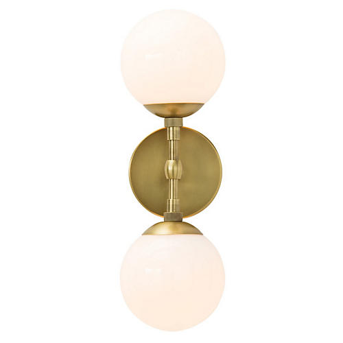 Polaris Sconce, Antiqued Brass/Frosted