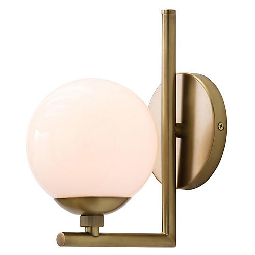 Quimby Sconce, Antiqued Brass/Frosted